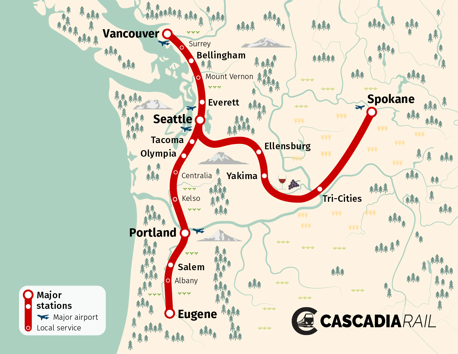 Cascadia Rail Map