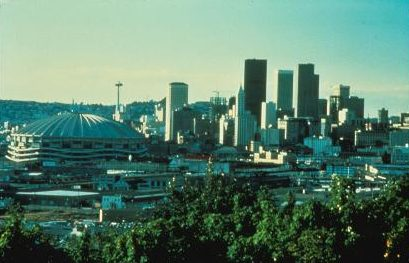 Seattle skyline in 1981 as seen from Beacon Hill. The Kingdome, demolished in March 2000, features prominently in the foreground.