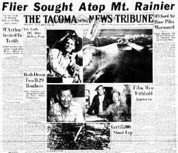 A cover article from 1951 covers the harrowing flight to the top of Tahoma (Mt. Rainier) by Lieutenant John W. Hodgkin, age 42, a pilot stationed at McChord Air Force Base who flew his ski-equipped Piper J-3 Cub from Spanaway Air Strip to the top of Tahome (Mount Rainier) (14,410 feet)