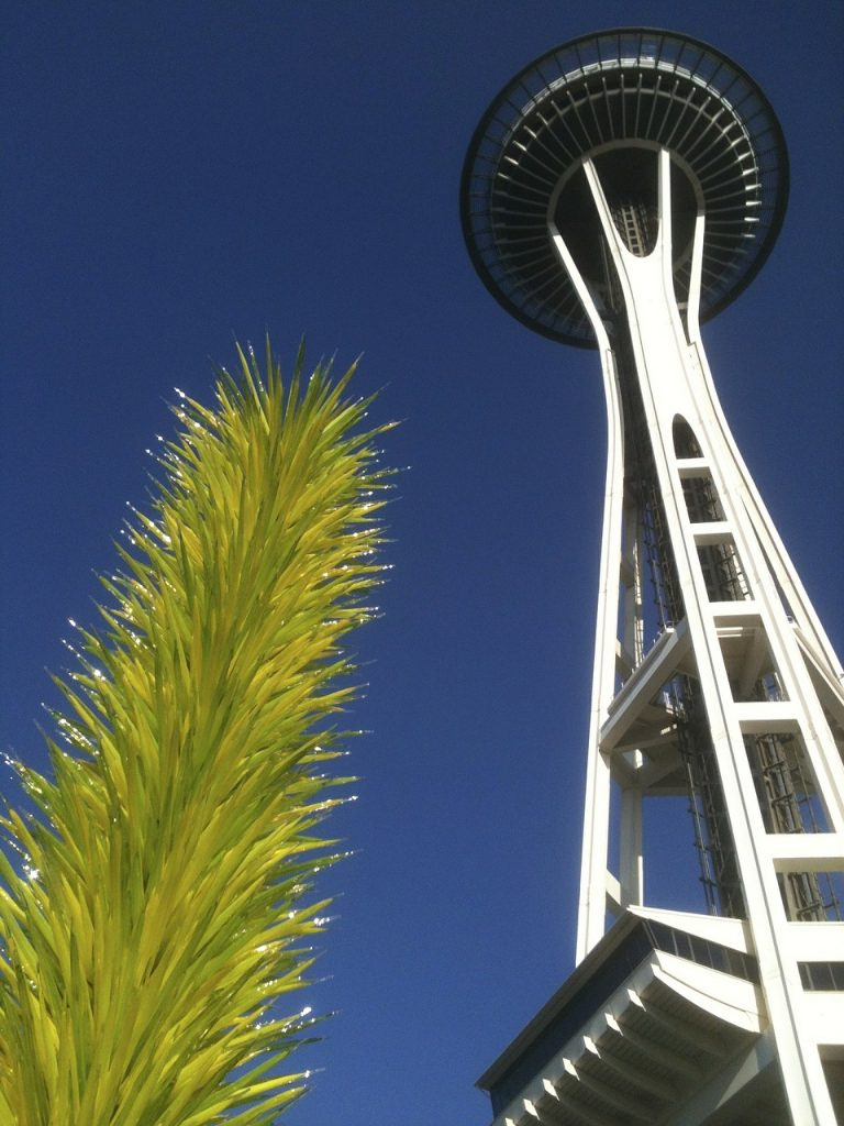 Seattle Space Needle with Chihuly Art Glass visible from the adjacent Chihuly Gardens & Glass Musuem. This Week in Cascadia: April 16th - 21st