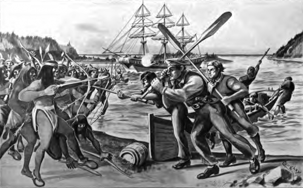 In a conflight with the indigenous tribs, Gray is painted whilding a boat's oar over his head as he charges at bow and arrow prepared Tillamook residents.