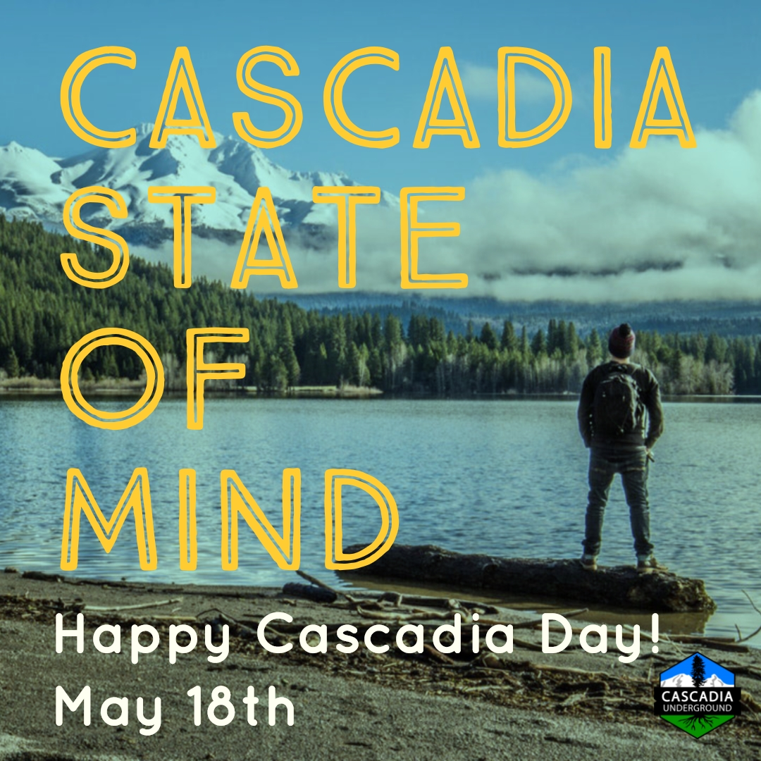 A man looks up at Mount Shasta from the banks of an alpine lake. Posted in connection with Cascadia Day celebrations.