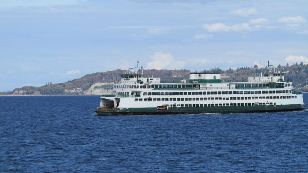 The M/V Kaleetan of the Washington State Ferry fleet sails calm waters in her daily runs across the Salish Sea